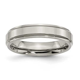 Chisel Ridged Edge Polished Titanium Ring (5.0 mm)