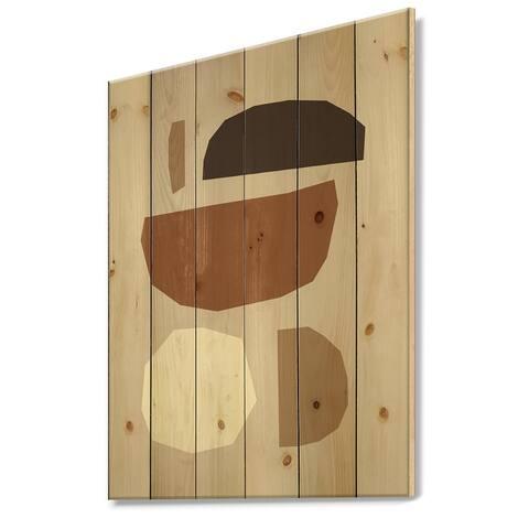 Designart 'Minimal Elementary Organic And Geometric Compostions XXIX' Modern Print on Natural Pine Wood