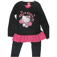 6895da3be7709 Hello Kitty Little Girls Black Fuchsia Dotted Ruffle 2 Piece Legging Set 4- 6X