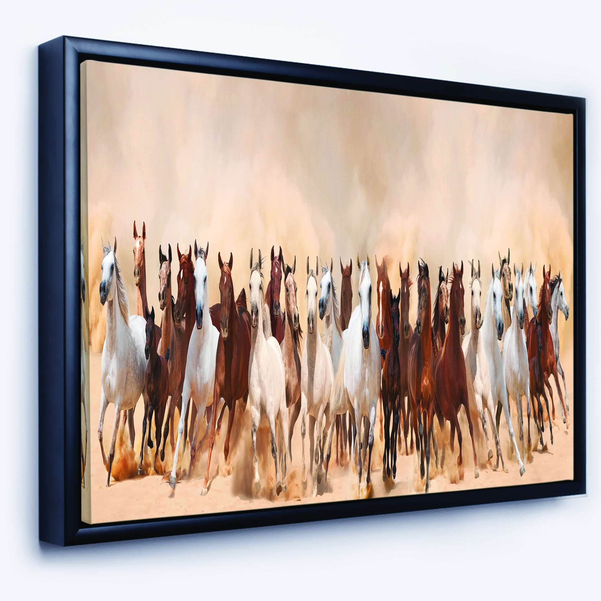 Designart Horses Herd In Sand Storm Landscape Photography Framed Canvas Art Print Overstock 18936208