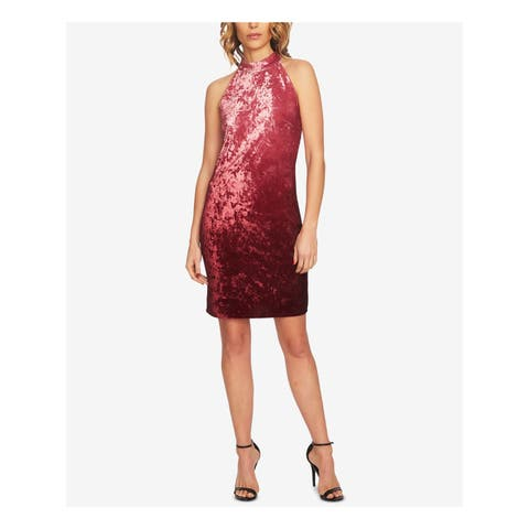 CECE Womens Pink Ombre Velvet Halter Above The Knee Sheath Party Dress Size: 4