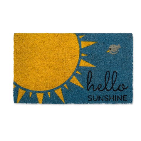 """18"""" X 30"""" Blue and Yellow Rectangular Durable and Non-Slip Doormat with """"Hello Sunshine"""" Design"""