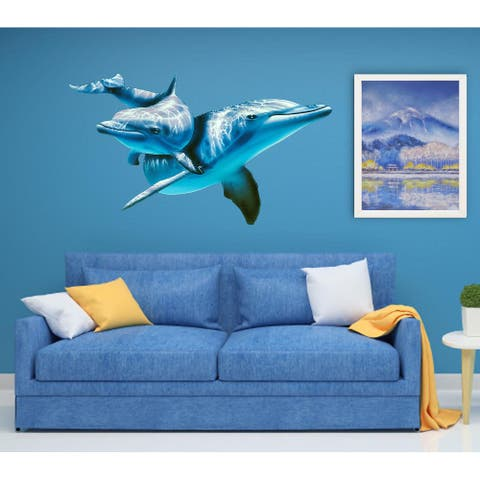 3D Dolphins Wall Decal, 3D Dolphins Wall sticker, 3D Dolphins wall decor