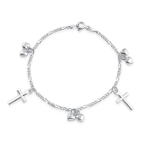 Christian Religious Multi Dangling Cross Hearts Charm Bracelet For Teen For Women 925 Sterling Silver