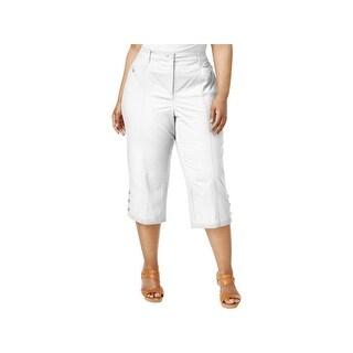 Karen Scott Womens Plus Capri Pants Tummy Control Elastic Waist