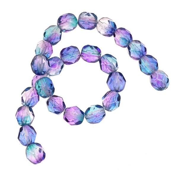 Czech Fire Polished Glass Beads 6mm Round Two Tone Purple/Blue (25)