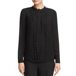Elie Tahari Womens Button-Down Top Silk Long Sleeves