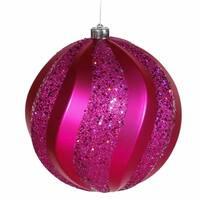Vickerman M112109 8 in. Cerise Matte-Glitter Swirl Ball