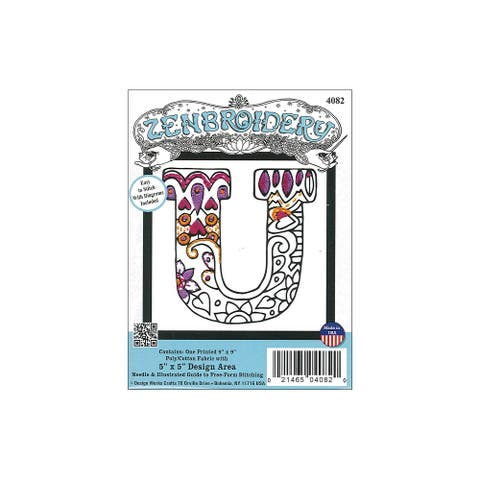 Design Works Zenbroidery Fabric 5x5 Letter U