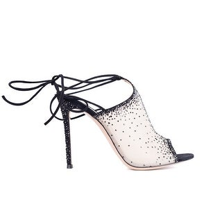 Gianvito Rossi Etoile Crystal Embellished Ankle Wrap Mules
