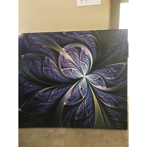 Glittering Purple Fractal Flower Large Floral Canvas Art Print Overstock 12209799