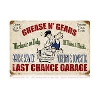 Past Time Signs V400 Grease Gears Garage Automotive Vintage Metal Sign