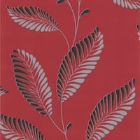 Brewster DL30465 Aubrey Red Modern Leaf Trail Wallpaper