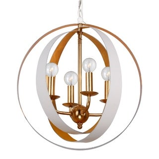 Link to Luna 4 Light White & Gold Sphere Mini Chandelier - 16'' W x 18'' H Similar Items in Chandeliers