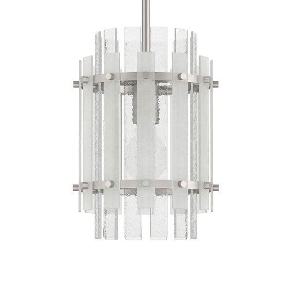 """Park Harbor PHPL5501 Brushed Nickel Sea Glass 9"""" Wide 1-Light Mini Pendant with Frosted Seeded Glass Panels - Brushed nickel"""