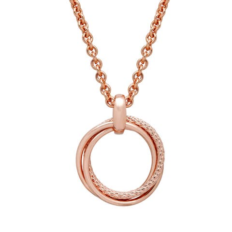 Open Circle Pendant in 18K Rose Gold-Plated Bronze - Pink