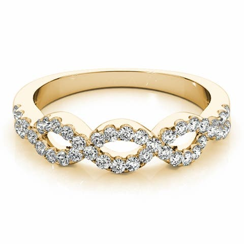 Lucid Styles 14K Gold 0.40 CT Round Cut Diamond Infinity Wedding Band