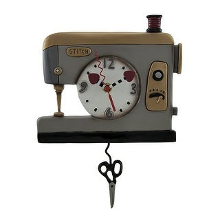 Allen Designs Back Stitch Sewing Machine Wall Clock w/Swinging Scissors Pendulum