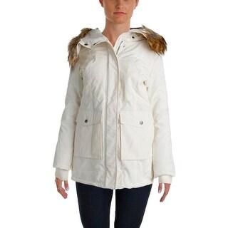 DKNY Womens Parka Faux Fur Hooded