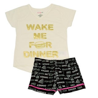 "Little Girls Ivory ""Wake Me For Dinner"" Print 2 Pc Shorts Pajama Set"