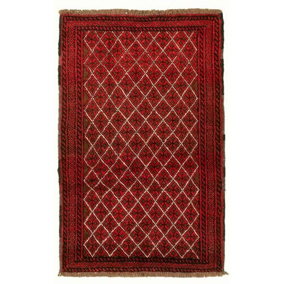 Hand-knotted Rizbaft Red Wool Rug