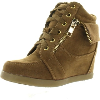 Peter Gladys24 Kids Taupe Fashion Leatherette Suede Lace-Up High Top Wedge Sneaker Bootie