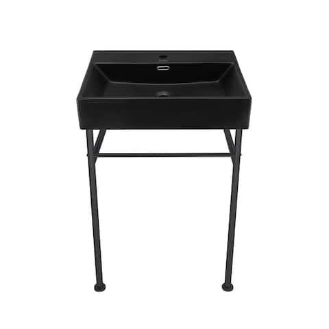 Claire 24 Ceramic Console Sink Matte Black Basin Black Legs