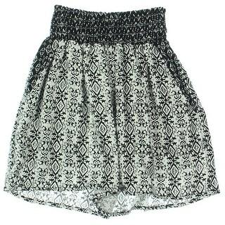 Aqua Womens Printed Smocked Casual Shorts