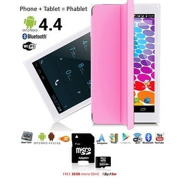 Indigi® Unlocked 3G 7.0inch HD DualSim SmartPhone & TabletPC w/ Built-in SmartCover (Pink) + 32gb microSD