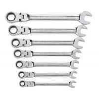 Wrench Set Combo Ratch Flex SAE 12 Point - 7 Piece