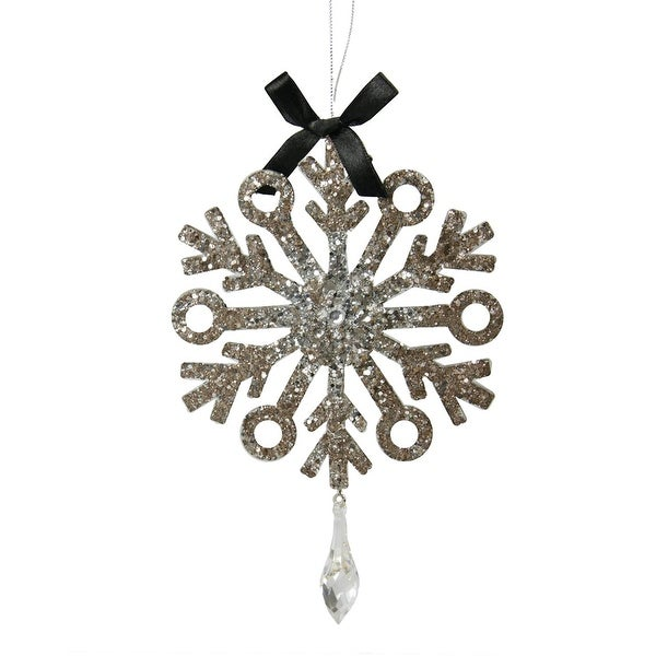 "7"" Silver Glitter Drenched Snowflake with Circular Tips Christmas Pendant Ornament"