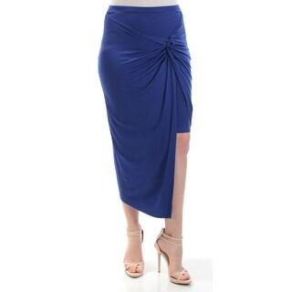 Womens Blue Maxi Faux Wrap Skirt Size L