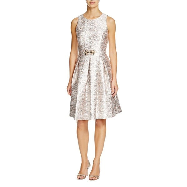 Eliza J Womens Cocktail Dress Jacquard Metallic