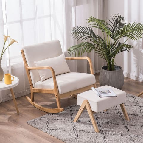 Rocking Chair Modern Accent Chair with Footrest Stool