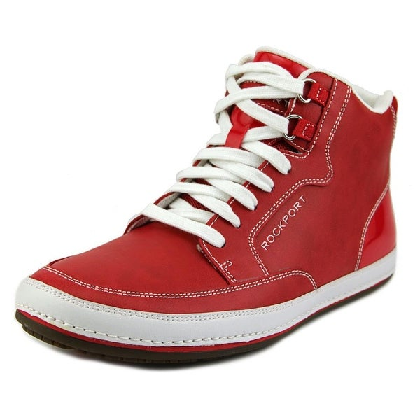 Rockport Harbor Point Mid Cut Men Leather Red Fashion Sneakers