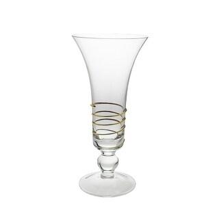 Glass Vase with Gold Swirl Design
