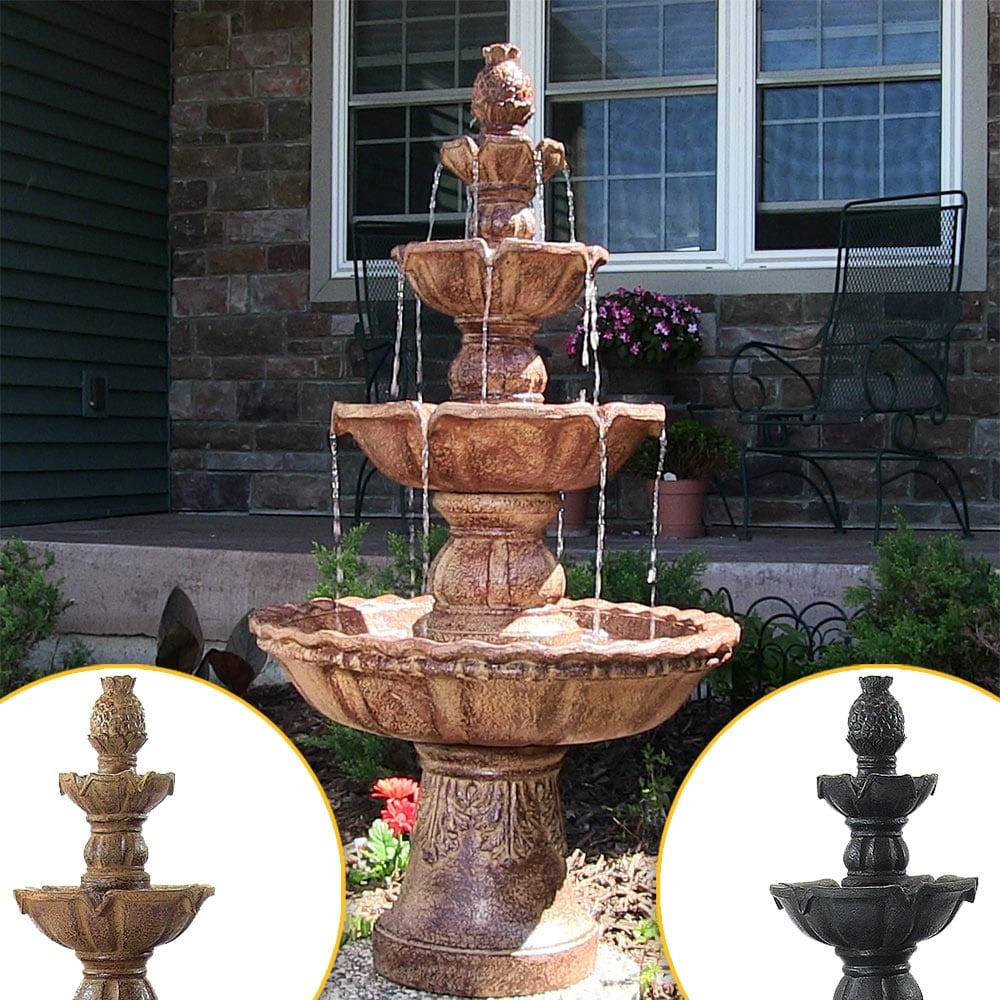 Sunnydaze 4-Tier Electric Pineapple Water Fountain Lightweight - Choose Color - Thumbnail 0