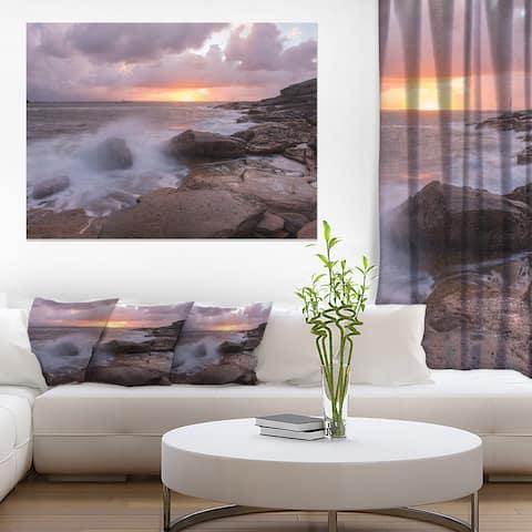Designart 'Stormy Waves in Beautiful Australia Beach' Large Seashore Canvas Print