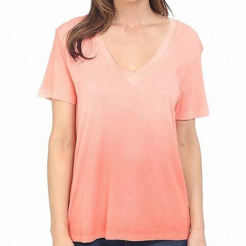Splendid Orange Womens Size Large L V-Neck Short Sleeve T-Shirt Top