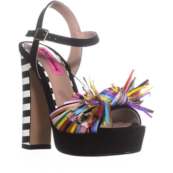 Betsey Johnson Mandy Bow Block Heel Sandals, Black Multi - 6 us