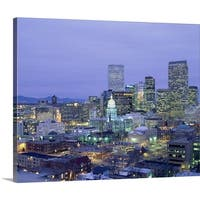 Premium Thick-Wrap Canvas entitled High angle view of the State Capitol Building and downtown, Denver, Colorado