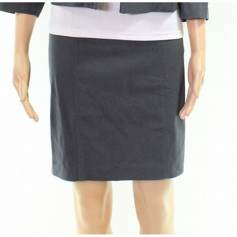 Tribal Carbon Gray Womens Skirt Size 16P Petite Solid Stretch Knit