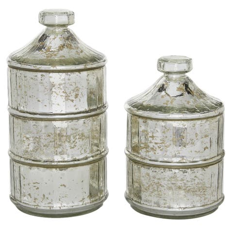 2 Pcs Glass Jars With Lids For Storage In Kitchen Transparent - 6 x 6 x 12