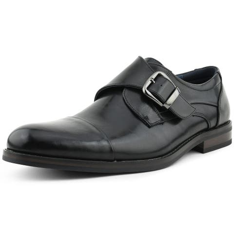 Amali Lazio Faux Leather Buckle Monk Strap Slip-On Loafer with Cap Toe