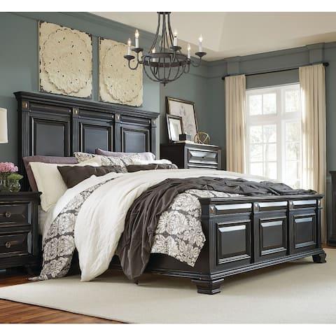 Renova Vintage Black Wood Panel Bed