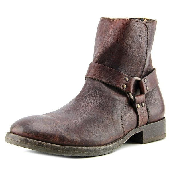 Frye Harness Men Round Toe Leather Brown Boot