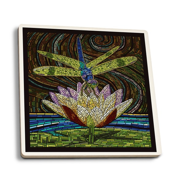 Dragonfly - Paper Mosaic - LP Artwork (Set of 4 Ceramic Coasters)