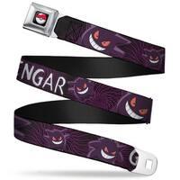 Pok Ball Full Color Black Gengar Poses Swirl Purples White Webbing Seatbelt Belt