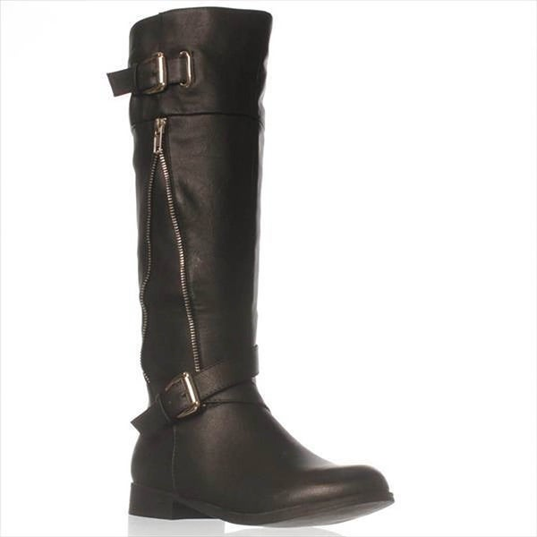 Just Fab Womens Chrissy Closed Toe Knee High Riding Boots