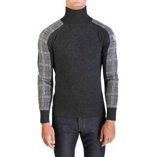 Moncler Gamme Bleu Men's Virgin Wool Turtleneck Sweater Grey Plaid